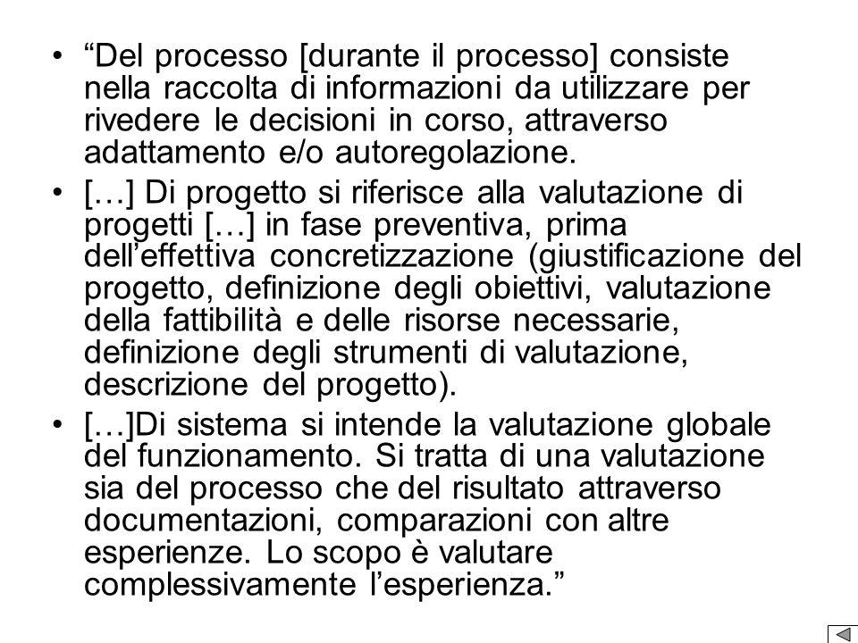 Del processo [durante il processo] consiste nella raccolta di informazioni da utilizzare per rivedere le decisioni in corso, attraverso adattamento e/o autoregolazione.